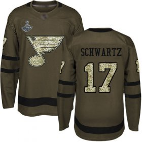 Wholesale Cheap Adidas Blues #17 Jaden Schwartz Green Salute to Service Stanley Cup Champions Stitched NHL Jersey