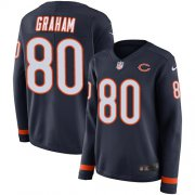 Wholesale Cheap Nike Bears #80 Jimmy Graham Navy Blue Team Color Women's Stitched NFL Limited Therma Long Sleeve Jersey