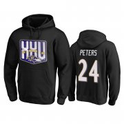 Wholesale Cheap Baltimore Ravens #24 Marcus Peters Men's Black Team 25th Season Pullover Hoodie