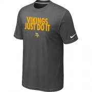 Wholesale Cheap Nike Minnesota Vikings Just Do It Dark Grey T-Shirt
