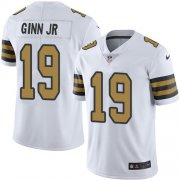 Wholesale Cheap Nike Saints #19 Ted Ginn Jr White Men's Stitched NFL Limited Rush Jersey