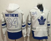 Wholesale Cheap Maple Leafs #34 Auston Matthews White Name & Number Pullover NHL Hoodie
