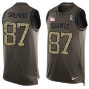 Wholesale Cheap Nike Giants #87 Sterling Shepard Green Men's Stitched NFL Limited Salute To Service Tank Top Jersey