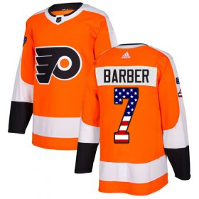 Wholesale Cheap Adidas Flyers #7 Bill Barber Orange Home Authentic USA Flag Stitched Youth NHL Jersey