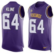 Wholesale Cheap Nike Vikings #64 Josh Kline Purple Team Color Men's Stitched NFL Limited Tank Top Jersey