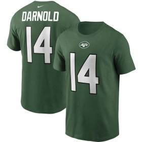 Wholesale Cheap New York Jets #14 Sam Darnold Nike Team Player Name & Number T-Shirt Green