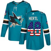 Wholesale Cheap Adidas Sharks #48 Tomas Hertl Teal Home Authentic USA Flag Stitched Youth NHL Jersey