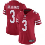Wholesale Cheap Nike 49ers #3 C.J. Beathard Red Team Color Women's Stitched NFL Vapor Untouchable Limited Jersey