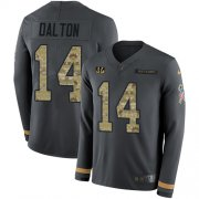Wholesale Cheap Nike Bengals #14 Andy Dalton Anthracite Salute to Service Men's Stitched NFL Limited Therma Long Sleeve Jersey