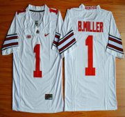 Wholesale Cheap Ohio State Buckeyes #1 Baxton Miller White 2015 College Football Nike Limited Jersey
