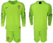 Wholesale Cheap Portugal Blank Shiny Green Goalkeeper Long Sleeves Soccer Country Jersey