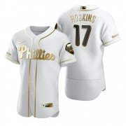 Wholesale Cheap Philadelphia Phillies #17 Rhys Hoskins White Nike Men's Authentic Golden Edition MLB Jersey