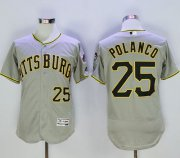 Wholesale Cheap Pirates #25 Gregory Polanco Grey Flexbase Authentic Collection Stitched MLB Jersey