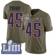 Wholesale Cheap Nike Patriots #45 Donald Trump Olive Super Bowl LIII Bound Youth Stitched NFL Limited 2017 Salute to Service Jersey