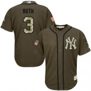 Wholesale Yankees #3 Babe Ruth Green Salute to Service Stitched Baseball Jersey