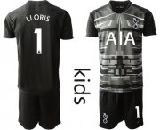 Wholesale Cheap Tottenham Hotspur #1 Lloris Black Goalkeeper Kid Soccer Club Jersey