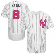 Wholesale Cheap Yankees #8 Yogi Berra White Strip Flexbase Authentic Collection Mother's Day Stitched MLB Jersey