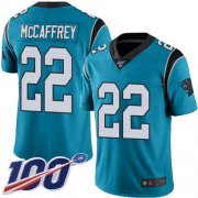 Wholesale Cheap Nike Panthers #22 Christian McCaffrey Blue Men's Stitched NFL Limited Rush 100th Season Jersey