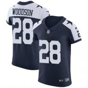 Wholesale Cheap Nike Cowboys #28 Darren Woodson Navy Blue Thanksgiving Men's Stitched NFL Vapor Untouchable Throwback Elite Jersey