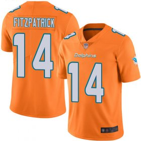 Wholesale Cheap Nike Dolphins #14 Ryan Fitzpatrick Orange Men\'s Stitched NFL Limited Rush Jersey