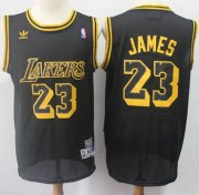 Wholesale Cheap Los Angeles Lakers #23 LeBron James Black Throwback Stitched NBA Jersey