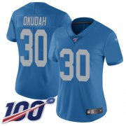 Wholesale Cheap Nike Lions #30 Jeff Okudah Blue Throwback Women's Stitched NFL 100th Season Vapor Untouchable Limited Jersey