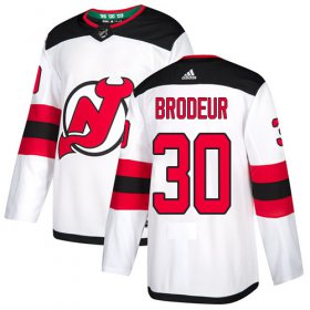 Wholesale Cheap Adidas Devils #30 Martin Brodeur White Road Authentic Stitched Youth NHL Jersey