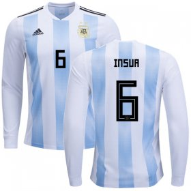 Wholesale Cheap Argentina #6 Insua Home Long Sleeves Kid Soccer Country Jersey