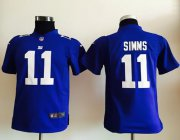 Wholesale Cheap Nike Giants #11 Phil Simms Royal Blue Team Color Youth Stitched NFL Elite Jersey