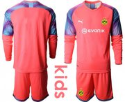Wholesale Cheap Dortmund Blank Pink Goalkeeper Long Sleeves Kid Soccer Club Jersey