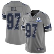 Wholesale Cheap Nike Cowboys #97 Trysten Hill Gray Men's Stitched With Established In 1960 Patch NFL Limited Inverted Legend Jersey
