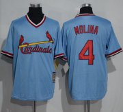 Wholesale Cheap Cardinals #4 Yadier Molina Blue Cooperstown Throwback Stitched MLB Jersey
