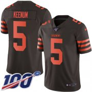 Wholesale Cheap Nike Browns #5 Case Keenum Brown Youth Stitched NFL Limited Rush 100th Season Jersey
