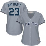 Wholesale Cheap Yankees #23 Don Mattingly Grey Road Women's Stitched MLB Jersey