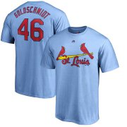 Wholesale Cheap St. Louis Cardinals #46 Paul Goldschmidt Majestic Official Name & Number T-Shirt Light Blue
