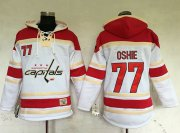 Wholesale Cheap Capitals #77 T.J Oshie White Sawyer Hooded Sweatshirt Stitched NHL Jersey