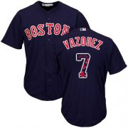 Wholesale Cheap Red Sox #7 Christian Vazquez Navy Blue Team Logo Fashion Stitched MLB Jersey