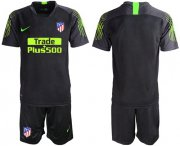 Wholesale Cheap Atletico Madrid Blank Black Goalkeeper Soccer Club Jersey