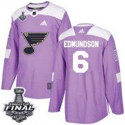 Wholesale Cheap Adidas Blues #6 Joel Edmundson Purple Authentic Fights Cancer 2019 Stanley Cup Final Stitched NHL Jersey