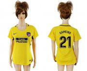 Wholesale Cheap Women's Atletico Madrid #21 Gameiro Away Soccer Club Jersey