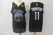 Wholesale Cheap Warriors 11 Klay Thompson Black Nike Swingman Jersey