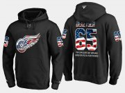 Wholesale Cheap Red Wings #65 Danny Dekeyser NHL Banner Wave Usa Flag Black Hoodie