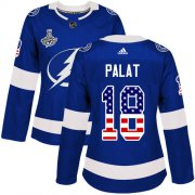 Cheap Adidas Lightning #18 Ondrej Palat Blue Home Authentic USA Flag Women's 2020 Stanley Cup Champions Stitched NHL Jersey