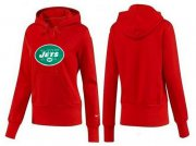 Wholesale Cheap Women's New York Jets Logo Pullover Hoodie Red