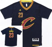Wholesale Cheap Men's Cleveland Cavaliers #23 LeBron James Revolution 30 Swingman 2015-16 New Navy Blue Short-Sleeved Jersey