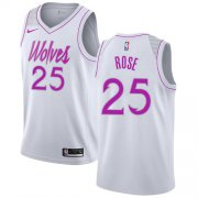 Wholesale Cheap Nike Timberwolves #25 Derrick Rose White NBA Swingman Earned Edition Jersey