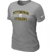 Wholesale Cheap Women's Nike Pittsburgh Steelers Heart & Soul NFL T-Shirt Light Grey