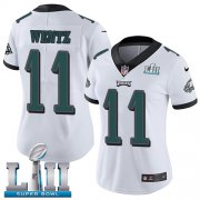 Wholesale Cheap Nike Eagles #11 Carson Wentz White Super Bowl LII Women's Stitched NFL Vapor Untouchable Limited Jersey