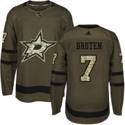 Wholesale Cheap Adidas Stars #7 Neal Broten Green Salute to Service Stitched NHL Jersey
