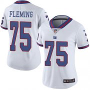 Wholesale Cheap Nike Giants #75 Cameron Fleming White Women's Stitched NFL Limited Rush Jersey